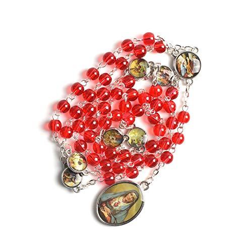 DADATU Collar De Rosario Católico De 6 Mm con Cuentas Rojas De La Virgen María De Los Siete Dolores