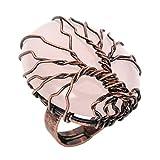 Jovivi Anello Regolabile in Rame a Forma di Albero della Vita con Ovale Naturale Cristallo Pietra Preziosa Donna- Quarzo Rosa