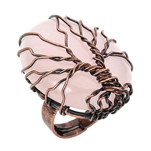 Jovivi Anillo ajustable de cobre con forma de árbol de la vida con ovalado natural cristal piedra preciosa mujer - cuarzo rosa