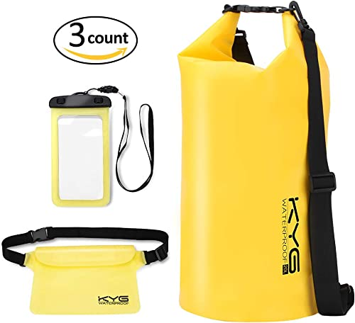 amarillo Kottle adem/ás de la caja del tel/éfono resistente al agua libre 2 Pack 10L // 2L ligero impermeables bolsas secas con lona resistente al agua 500D resistente correa de hombro ajustable