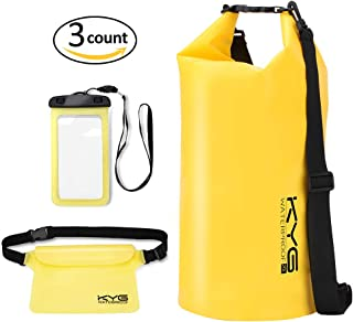 KYG Bolsa Estanca 20L Impermeable Seca Set de Bolsa Waterproof con Funda Táctil de Móvil y Bolsa Cintura para Playa y Deportes al Aire Rafting/Kayak/Senderismo/Esquí/Pesca/Escalada/Camping