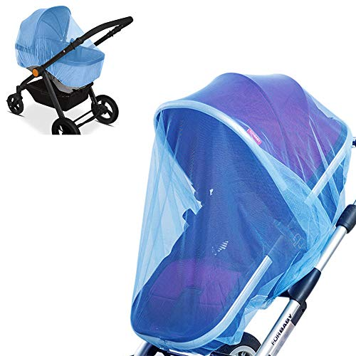 2 Pack Baby Mosquito Net for Strollers, Car Seats, Bassinets, Carriers and Cradles - Stretched up to 60 Inch in Length, Blue
