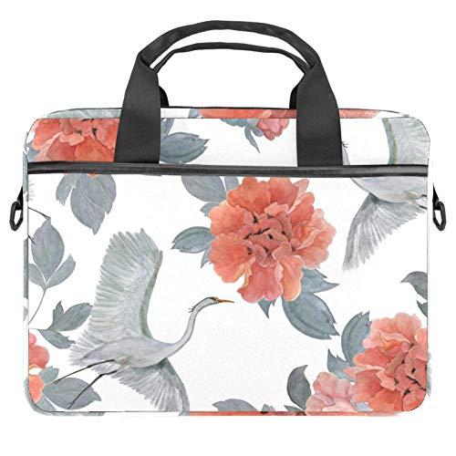 TIZORAX Laptop-Tasche Chinesische Pfingstrosen und fliegende Kraniche, Notebooktasche mit Griff, 38,1 - 39,1 cm Tragetasche Schultertasche Aktentasche