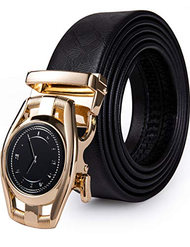Barry.Wang Watch Style Belt for Men Designer Buckle with Black Genuine Leather Business Golf Gift