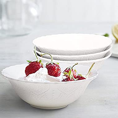 Cereal Soup Bowls Set 4 Porcelain Bone China, Scalloped Embossed Pattern, 15 Ounce Each, White