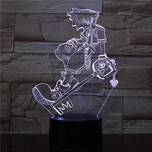 3D Veilleuse Sora Figure Chevet 3D Led Veilleuse Multicolore Lumières Décoratives Garçons Enfants Bébé Cadeaux Jeu Kingdom Hearts Lampe de Table