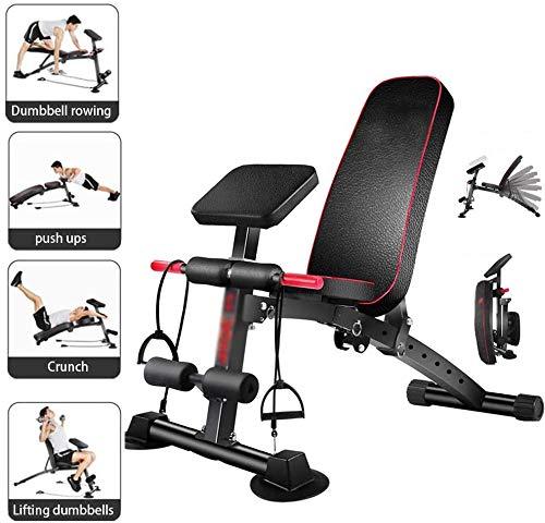 Inklapbare halterbank, multifunctionele training fitnessbank, 2-in-1 zit-ups bank met hoogwaardig dik kussen, 7-voudig verstelbare rugleuning/elastisch touw