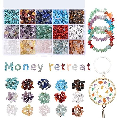 Cizen Perline di Pietre Preziose, 15 Colori Pietre Miste Irregolare, Perline di Pietre Colorate per Creazione di Gioielli Fai da Te, (7-9mm, 750 Pezzi)