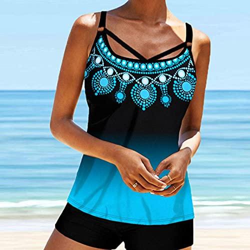 WQZYY&ASDCD Traje de baño bikini para mujer, sexy, bikini playa, estampado azul, 2 piezas, moda traje de baño con tiras de espagueti, traje de baño, Wa00612-blue, xx-large