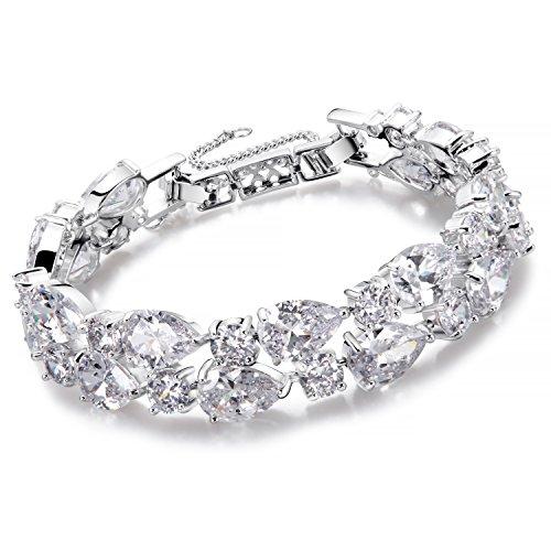 Damen Armband Silber Tropfenform Armband für Frauen Kristall Diamant Fashion Elegantes Armband