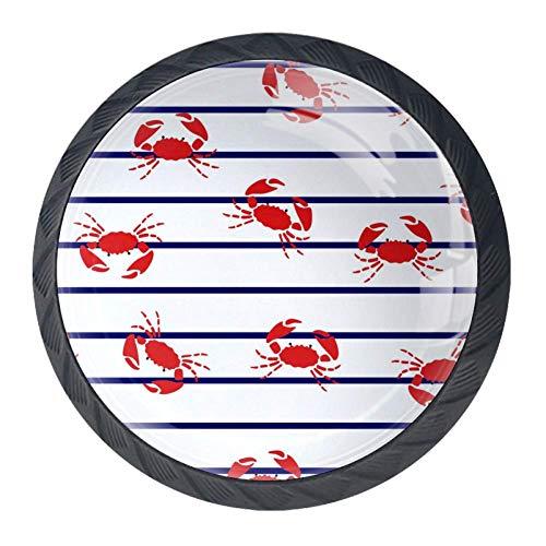 TIKISMILE Krabben Op Marine Strepen Lade Knop Trekhaak Ergonomische 35mm Kristal Glas Cirkel Meubelkast Handvat voor Keuken Dressoir Kast 4 STKS