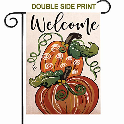 ZUEXT Welcome Fall Pumpkin Garden Flag 12.5x18 Inch Double Side Print,Vintage Autumn Thanksgiving Rustic Cotton Linen Yard Sign for Outdoor Decoration,Heavy Duty Durable Decorative Door Hanger Flags