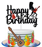HAKPUOTR Guitar Cake Topper for Birthday - Rock and Roll Birthday Cake Topper - Black Glitter Rock Music Cake Topper for Vintage Rock Musical Theme Birthday Party Baby Shower Events Decoration Supplies