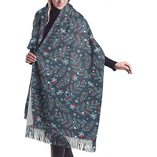 Cathycathy notenkraker grenen op blauwe schaal verpakking winterwarme sjaalrand grote zachte sjaalverpakking