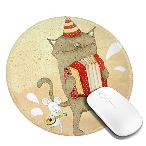 7.9x7.9 In ronde muismat bureau kat spelen Accordeon en muis spelen gitaar toetsenbord Mat Big Mouse Pad Voor Computer Desktop PC Laptop