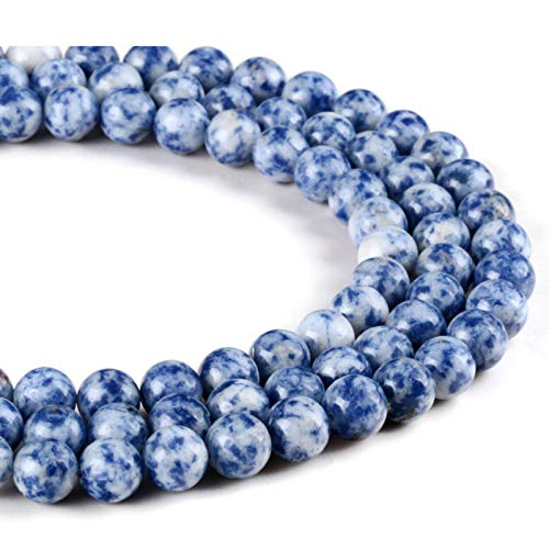 Natural Stone Dot White Blue Beads Sodalite Round Loose Stone Beads 4mm 6mm 8mm 10 12MM For DIY Bracelet Jewelry Making