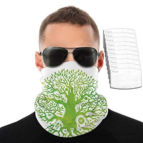 Toalla facial con efecto de acuarela árbol de la vida para hombres y mujeres, deportes al aire libre, resistente al viento, transpirable, variedad