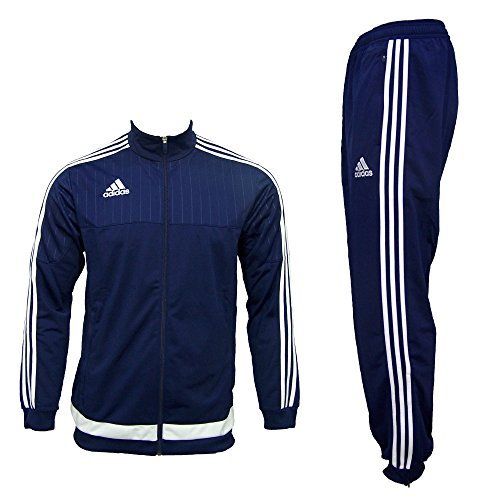 adidas Herren Trainingsanzug Tiro 15, Top:dark blue/white/dark blue Bottom:dark blue/white, S, S22290