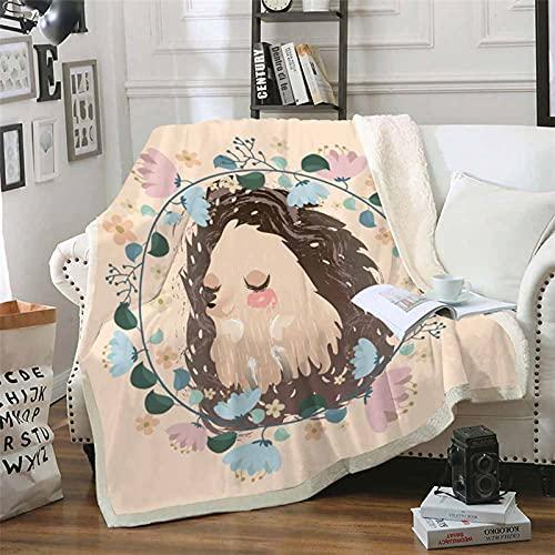 Mscomft Kuscheldecke Microfaser Cartoon Igel Gedruckte Decke Fleecedecke Weich Wohndecke Tagesdecke Sofadecke für Kinder Jungen Mädchen (E,100x140cm)
