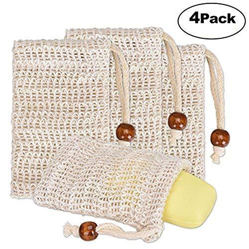 exquleg Jabón bolsitas, 4STK Jabón bolsas de fibras naturales para espumar, Bio Natural biodegradable. Exfoliante Efecto