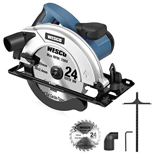 WESCO Sierra Circular 1400W Sierra Eléctrica 5800RPM Profundidad de Corte: 90 °...