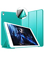 """Fodral till iPad Air (3) 10.5 2019 & iPad Pro 10,5 tum 2017, ultratunt lätt trippelstativ smart fodral skal [Automatisk sov/vakna] med flexibel mjuk TPU-baksida för Apple iPad 10.5"""" gRÖN"""