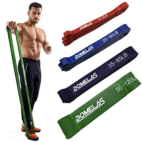 DOMELAS Pull Up Bands, Resistance Bands Heavy Duty 50-120lbs Green Workout Band for Men Mobility Band Powerlifting Exercise Bands for Body Stretching, Powerlifting, Resistance Training