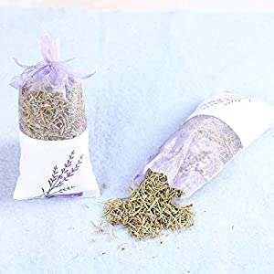 Artificial and Dried Flower Natural Rose Flowers Jasmine Lavender Bud Dried Flower Sachet Bag Wardrobe Desiccant Sachet car Room Air Refreshing – ( Color: Rosemary )