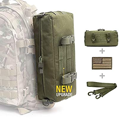WYNEX Tactical Increment Molle Pouch, Vertical EDC Utility Pouches Sling Bag Military Multi-Purpose Large Capacity with Shoulder Strap Waterproof Attachment Modular Design (Army Green (Upgraded))