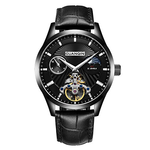 Guanqin Reloj de pulsera mecánico automático con correa de piel para hombre, diseño de fase lunar, negro, Correa
