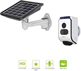 Freecam Solar Powered Alarm Security Camera with Automatic Siren and Flash Alarm,Wire-Free Outdoor Surveillance Camera with Two-Way Talk,Motion-Activated and Night Vision with Solar Panel C390S WT