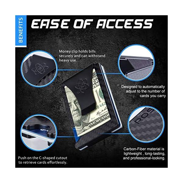Carbon Fiber Wallet for Men – RFID Minimalist Credit Card Holder with Metal Money Clip – Slim Rigid Front Pocket Mens Wallets