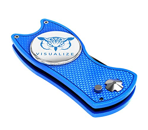 VISUALIZE Talon Premium All-Metal Switchblade-Style Divot Repair Tools - Golf Accessories - Divot Tools with Silicone Owl Ball Marker - 3-in-1 Multi Tool (Blue)