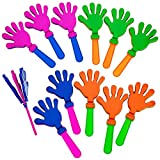 Kicko Hand Clapper Noisemakers - 12 Pieces of 7.5 Inch Assorted Plastic Clapping Hands - Perfect for Giving, Game Accessories, Easter Treasure Hunt, Party Favor, Prizes and Supplies