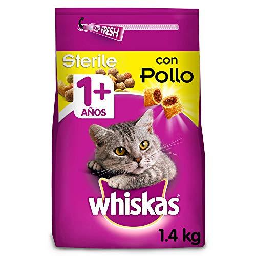 Whiskas Pienso para gatos adultos esterilizados con sabor a pollo (Pack de 6 x 1,4kg)