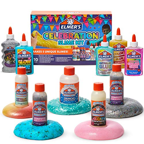 Elmer's Celebration Slime Kit: Supplies Include Assorted Liquid Glues & Assorted Magical Liquid Activators, Gift for Kids,10 Count