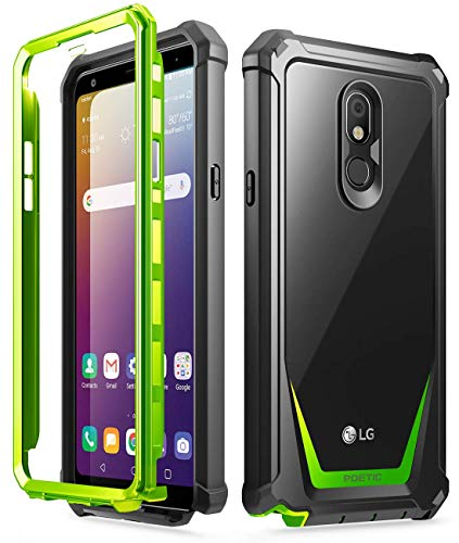 Poetic Guardian Series Designed for LG Stylo 5 /LG Stylo 5X/ LG Stylo 5 Plus/LG Stylo 5V Case, Full-Body Hybrid Shockproof Bumper Cover with Built-in-Screen Protector, Green/Clear