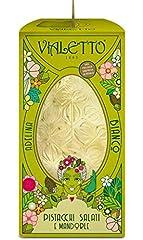 Idea Regalo - VIALETTO Uovo di Cioccolato Adelina | Cioccolato bianco con granella salata di mandorle e pistacchi | Uovo di Pasqua da 300 grammi