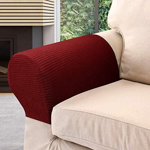Juego de 4 fundas elásticas para reposabrazos de sillón, de poliéster suave, antideslizante, protector de muebles para silla, sofá, sofá, color rojo vino