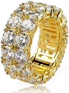 Moca Jewelry Anello Moda Hip Hop con Doppia Fila di Gioielli in Argento Placcato Oro 18 carati con Diamante simulato con D...