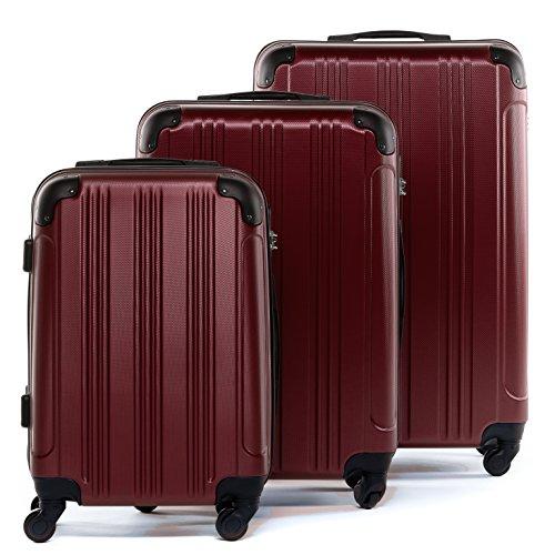 FERGÉ Kofferset Hartschale 3-teilig QUÉBEC Trolley-Set - Handgepäck 55 cm, L und XL 3er Set Hartschalenkoffer Roll-Koffer 4 Rollen rot