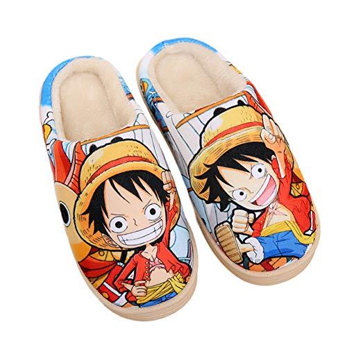 YZJYB Impresión 3D Anime Casa Zapatillas One Piece Antideslizante Caliente Coral Fleece Pantuflas Invierno Cute Dibujos Animados Slippers,UK 7.5~9/EU 42~44(290)