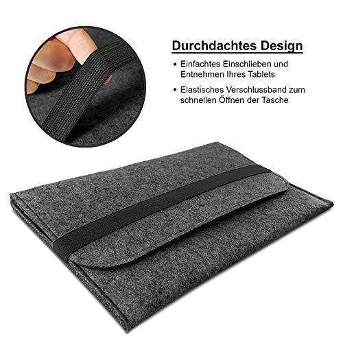 ROYALZ Hülle für Huawei MediaPad T5 10 Tasche (10.1 Zoll Tablet) Schutzhülle Sleeve Design Cover Filztasche Case, Farbe:Dunkelgrau
