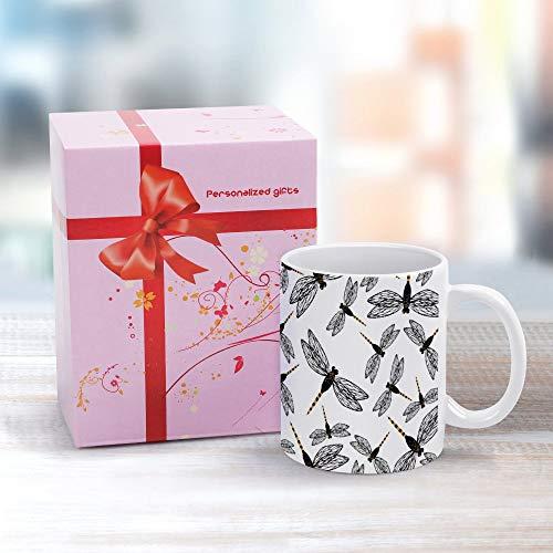 Taza de cerámica blanca con diseño de libélula, taza de té, taza de café, capuchino, de cerámica, ideal como regalo para profesores de cumpleaños, Halloween, día de Navidad, 12 onzas