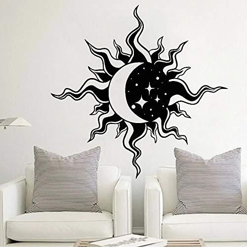 HGFDHG Día y noche pegatinas de pared hermosa vista sala de estar decoración abstracta luna sol estrellas vinilo pared dormitorio arte decoración