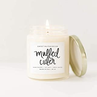 Mulled Cider Natural Soy Wax Candle Glass Jar Scented Orange Cedarwood Lemon Cinnamon Cranberry Apple Fall Autumn Winter Christmas Lead Free Cotton Wick Made in USA Country Rustic Farmhouse Home Decor