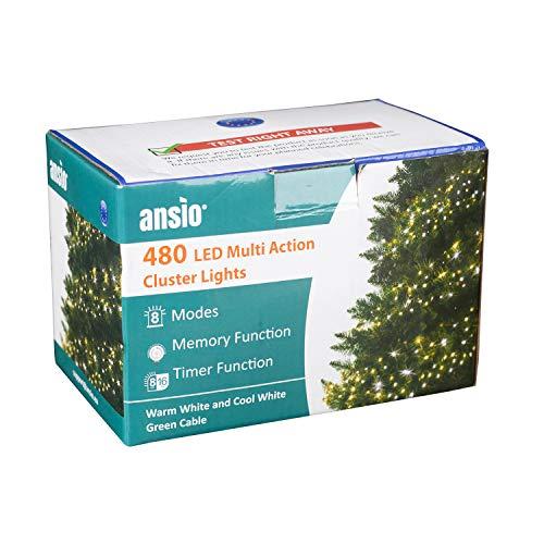 ANSIO Luces para árboles de Navidad Cluster 480LED 10m Blanco frío y blanco cálido Cadena de luz interior Canal de...