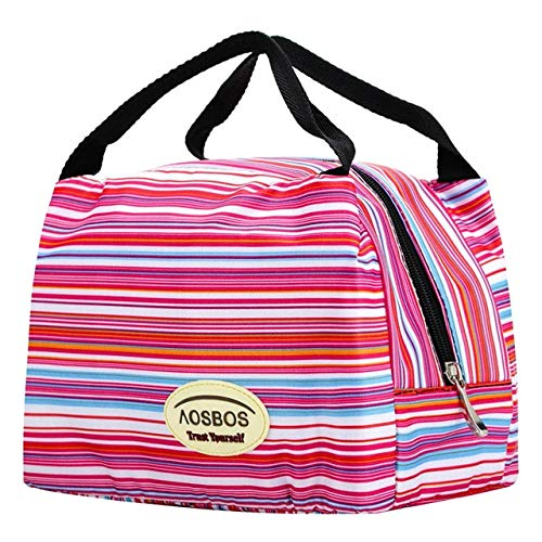 Hmg Bolsa de Almuerzo de Lona con Aislamiento portátil de Moda Bolsas de Almuerzo de Picnic de Comida térmica (Negro Blanco) (Color : Pinstripe)