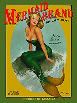 A SLICE IN TIME Mermaid Pin Up Jamaica Jamaican Rum Caribbean Island Beach Vintage Travel Advertisement Art Collectible Wall Decor Poster Print Poster Measures 10 x 13.5 inches