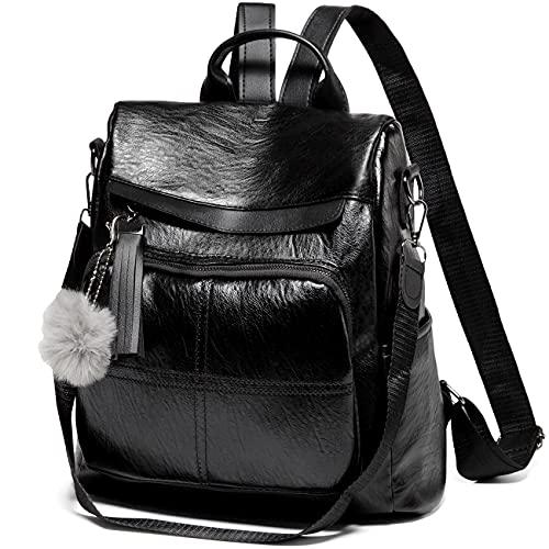 VASCHY Rucksack Damen, Diebstahlsicherer Rucksack Wasserabweisend Kunstleder Casual Daypack Elegant Handtasche Schulrucksäcke für Frauen Hochschule Teenager Mädchen mit Mode Quaste Schwarz